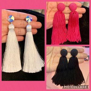 3 pairs Tassel Earrings White,Black,Pink